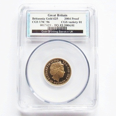 2004 QEII Gold Proof 1/4oz BRITANNIA - CGS UNC 96